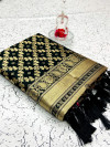 Black color banarasi weaving silk saree with beautiful tassel