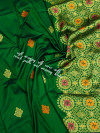 Green color soft silk weaving jacquard saree with rich pallu
