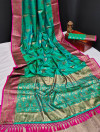Rama green color banarasi khicha silk weaving saree with zari work