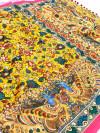 Multi color beautiful linen saree with kalamkari print