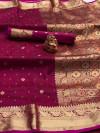 Pink color soft silk saree with zari work