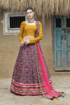 Black color georgette and art silk lehenga with printed and fancy sequince work
