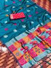 Lichi silk saree with silver zari weaving work
