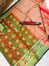 Kanchipuram Handloom Weaving Silk Saree With Rich Contrast Zari pallu