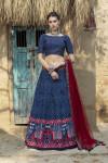 Navy blue color art silk lehenga and net dupatta with printed work