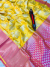 Yellow color kanchipuram pure silk handloom saree