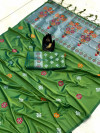 Green color lichi silk saree with zari weaving rich pallu