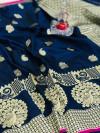 Blue color banarasi silk jecquard work saree with rich pallu