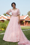 Pink color net lehenga with pigment foil and thread embroidered work