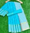 Firoji color soft kota doriya saree with leriya print