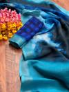 Multi color linen silk saree with silver zari border