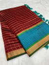 Maroon color soft cotton silk saree with satin patta zari weaving border