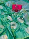 Perrot green color banarasi silk jacquard weaving saree with rich pallu