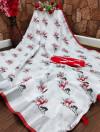 Red and white color semi linen cotton saree