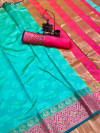 Firoji color soft cotton saree with weaving border