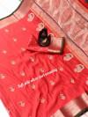 Peach color banarasi silk golden zari weaving saree with rich pallu