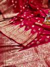 Pink color soft banarasi lichi silk saree with golden zari work
