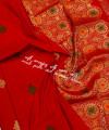 Red color soft silk weaving jacquard saree with rich pallu