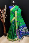 Green color bhagalpuri cotton banarasi silk handloom weaving saree