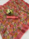 Multi color linen silk digital print saree with zari border work