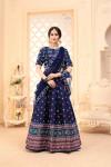 Navy blue color net dupatta and art silk lehenga with digital printed work