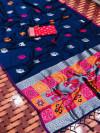 Navy blue color lichi silk saree with silver zari weaving work