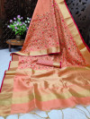Peach color assam silk saree with embroidered jal work