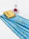 Sky blue color satin silk saree with floral print