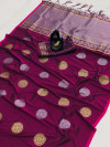Magenta color banarasi silk weaving jacquard saree with rich pallu