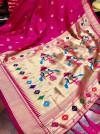 Pink color pure kanchipuram silk saree with zari work