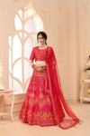 Pink color net and art silk lehenga with digital printed work