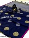 Navy blue color banarasi silk weaving jacquard saree with rich pallu
