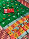 Green color lichi silk saree with silver zari weaving work