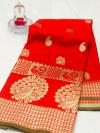 Red color banarasi silk jecquard work saree with rich pallu