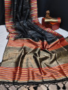 Black color tussar silk weaving saree with ikkat woven border & zari woven pallu