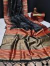Black color tussar silk weaving saree with ikkat woven border & zari woven pallu