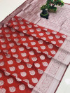 Red color soft cotton silk weaving saree with silver zari work