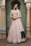 Dusty pink color viscose cotton and georgette lehenga with fancy sequince work