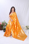 Yellow color banarasi silk saree with golden zari weaving work