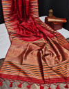 Red color tussar silk weaving saree with ikkat woven border & zari woven pallu
