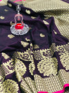 Magnta color banarasi silk jecquard work saree with rich pallu
