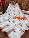 Orange and white color semi linen cotton saree