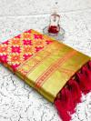 Pink color banarasi weaving silk saree with beautiful tassel