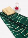 Green color satin silk saree with floral print