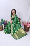 Green color banarasi silk saree with golden zari weaving work