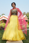 Yellow color tafetta satin net lehenga with thread and sequince embroidered work