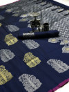 Navy blue color lichi silk saree with golden and silver zari work