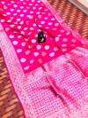Pink color Soft banarasi silk saree with silver zari work
