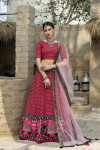 Red color art silk lehenga with prined work