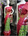 Green color soft cotton saree with zari border & Hip belt